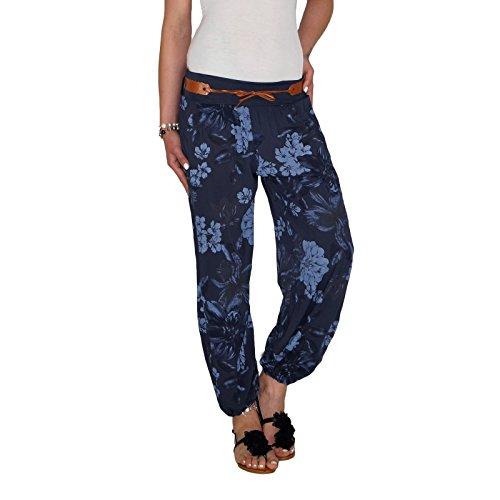 DB Damen Sommerhose mit Blumenmuster in schwarz, beige, taupe, weiß, blau und khaki (One Size, Blau)