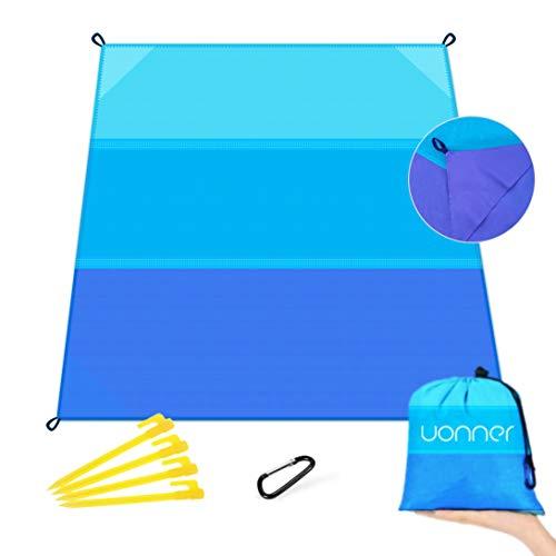 UONNER Picknickdecke Wasserdichte Stranddecke Sandfrei Outdoor Tragbare Ultraleicht Strandmatte Campingdecke Picnic Pocket Blanket mit 4 Befestigung Ecken -