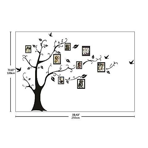 Ecloud Shop® 180 * 250 Grand style européen noir Stickers maison Mémoire d'arbre photo muraux