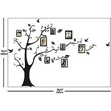 Ecloud Shop® 180 * 250 De gran estilo europeo negro pegatinas de pared hogar Memoria foto del árbol Árbol