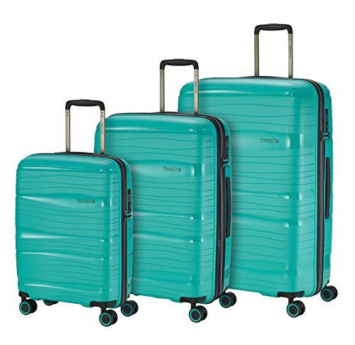 Travelite Leichter, robuster und beweglicher Rollen-Reisekoffer Trolley 'Motion' mit Hartschalen in 4 Farben Koffer-Set, 77 cm, 213 Liter, Minze
