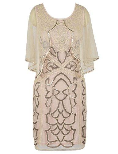 PrettyGuide Damen Flapper Kleid 1920s Gatsby Inspiriert Paillette Art Deco Mit Umhang M Beige