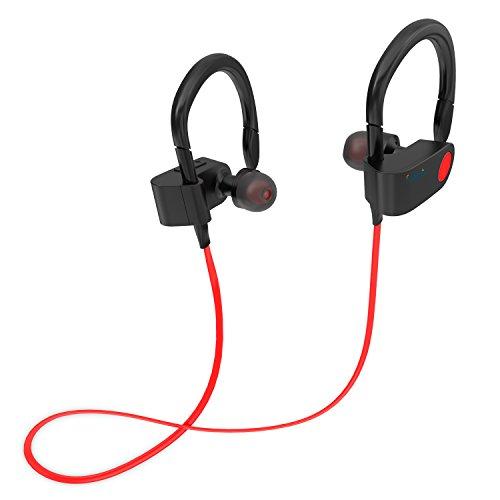 Bluetooth Kopfhörer In Ear Halsband Sport Ohrhörer,EAKAI spritzwasserfest für Joggen, Workout, Fitness, Headphones mit Mikrofon für iPhone, Android, MP3 & Weitere (FT1, Rot)