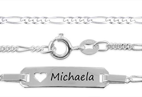 aplusashop ID Baby/Kinder-Armband 925 Silber mit Gravur nach Wunsch Taufe, Geburtstag Echtsilber mit Herz (15) (Baby Boy Name-armband)