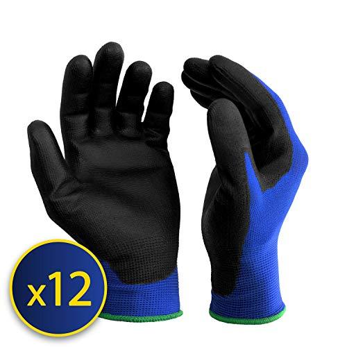S&r-12 paia guanti da lavoro protettivi in fibra di nylon con rivestimento in poliuretano, blu, misura l/9
