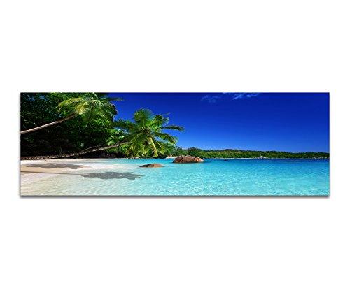 Panoramabild auf Leinwand und Keilrahmen 150x50cm Seychellen Strand Meer Palmen