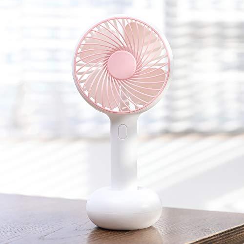 JINRU Mini Personal Fan - USB Aufladbar, Mit Mehrfarbigem LED-Licht, 2 Einstellbaren Geschwindigkeiten, Perfekt Für Indoor- Oder Outdoor-Aktivitäten,Pink