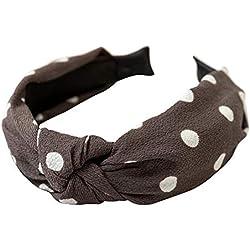 AchidistviQ Fashion Bowknot - Diadema para Mujer, diseño de Lunares Gris Gris