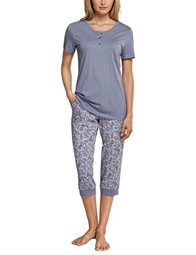Schiesser Damen Zweiteiliger Schlafanzug Anzug 3/4, 1/2 Arm, Blau (Jeansblau 816), 36