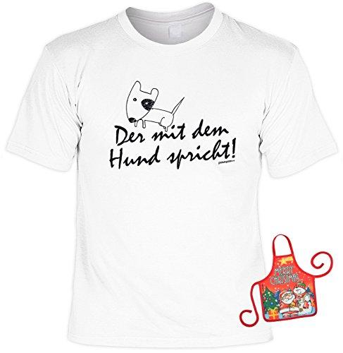 Ideen Das Shirt Preis Ist Richtige T (Hund Weihnachtsgeschenk-Set Mann - lustiges Sprüche T-Shirt + Minischürze : Der mit dem Hund spricht! -- Hunde-Shirt + witziger Scherzartikel Flaschenschürze Gr:)