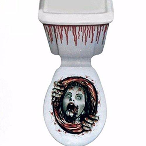 Kicode Halloween Scary Horror WC Sitz Grabber Cover Party Festival Aufkleber Prop Home Badezimmer Dekor Dekoration (Scary Halloween Dekoration Props)