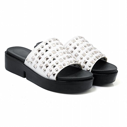 MissSaSa Donna Sandali col Tacco Basso Pantofole Moda Bianco