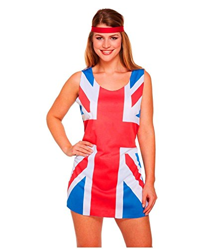 Islander Fashions Damen Union Jack 90er Jahre Kost�m Damen �rmellos Ingwer Spice Girls Outfit One Size