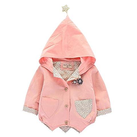 Longra Kinder Baby Mädchen Kleinkind Winter Warm Trenchcoat Mantel mit Kapuzen Kinder Übergangsmantel Steppjacke Hooded Jacket Windbreaker Jacke Outwear Parka(0-5Jahre) (80CM 12Monate, Pink)