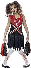 Idea Regalo - Smiffys Costume Zombie Cheerleader, Rosso e Nero, comprende Abito Insanguinato e Pompon