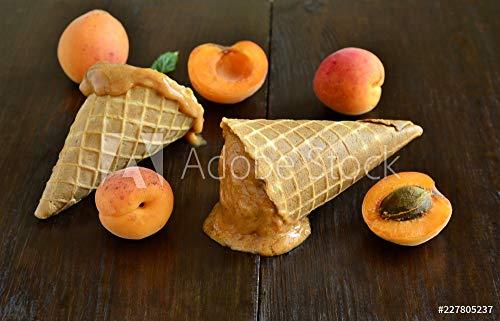 druck-shop24 Wunschmotiv: Apricot Ice Cream in Waffle Cones. Vegan. #227805237 - Bild als Klebe-Folie - 3:2-60 x 40 cm / 40 x 60 cm