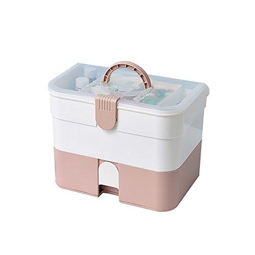 Schmuckkästchen Mizii Medizin-Box Familie Multifunktions-Medizin-Box Große Medizin-Aufbewahrungsbox Medizin-Aufbewahrungsbox Mit Schubladen Multi-Layer-Verbandskasten (Farbe : Pink)