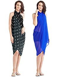SOURBH Women's Faux Georgette Beach Wear Wrap Combo of 2 Sarong Plain & Printed Pareo Swimsuit Cover up (S64C_Royal Blue,Grey)