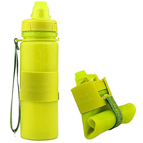 500 ML Bottiglia dAcqua Sportiva di Silicone Pieghevole A Prova di Perdite Senza BPA Detox Borracce per Sport Ciclismo Palestra Yoga In Esecuzione