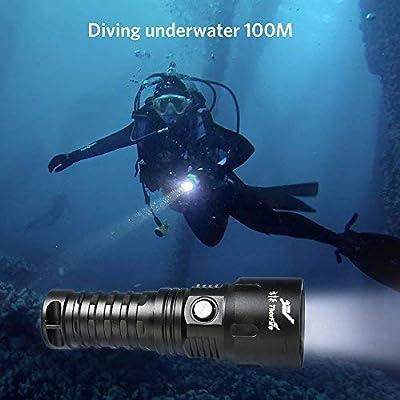 1000LM Unterwasser Taschenlampe, ThorFire TD26 Unterwasser 100m Wasserdicht Tauchen Taschenlampe IPX8 LED 5 Modi (Mit 18650 Akku + USB Ladekabel+ Ladegerät) von Tobilreve - Outdoor Shop
