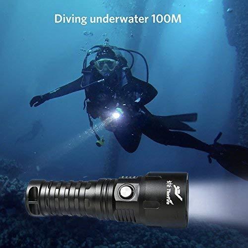Lampe de poche sous-marine 1000lm ThorFire Lampe torche Incendie TD26 100m Sous-marin avec 18650 Batterie + Câble de Charge USB + Chargeur Lampe de Plongée Etanche à l'eau IPX8 LED 5 Modes