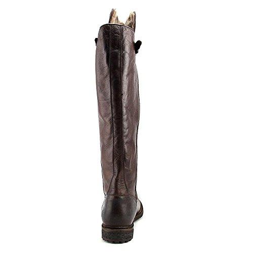 Frye Mara Button OTK Femmes Cuir Botte Dark Brown