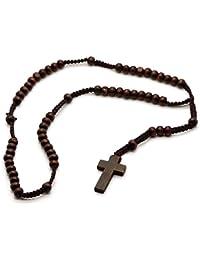 Rosario de perlas madera con Crucifijo 55 cm Marrón Collar de Hombres Colgante Cruz Cadena
