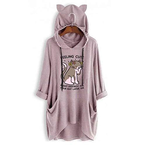 Zottom Frauen-beiläufigen Katze-Ohr-Hülse mit Kapuze Druck Lange mit Kapuze Tasche Kleid T-Shirt