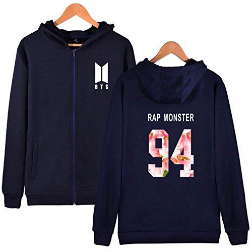 SIMYJOY BTS Fans Felpa Zip con cappuccio KPOP Pullover Hip Hop Felpa per Uomo Donna Adolescente reale-94