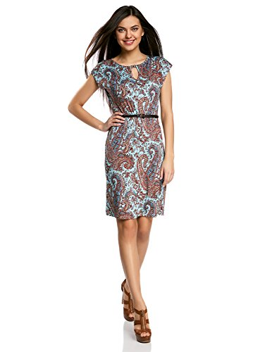 oodji Collection Damen Jersey-Kleid mit Gürtel, Türkis, DE 44/EU 46/XXL