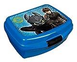 Scooli DRRA9901 - Brotzeitdose aus Kunststoff mit Clip, leicht zu öffnen und zu schließen, BPA und Phthalat frei, Dreamworks Dragons mit Ohnezahn und Hicks, ca. 13 x 17 x 6 cm