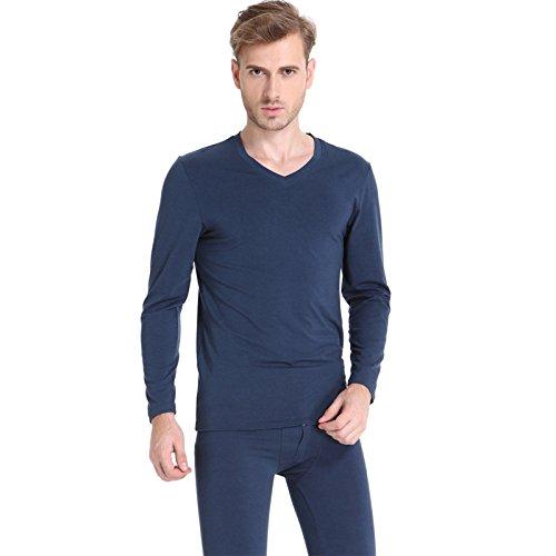 VB Johks lungo Johns Underwear rendere sottile cintura centrale solido caldo colore Hide Blue