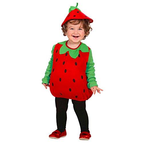 Amakando Erdbeere Kostüm Frucht Kinderkostüm 90-104 cm Früchtchen Babykostüm Baby Erdbeerkostüm Obst Karnevalskostüm Süße Verkleidung