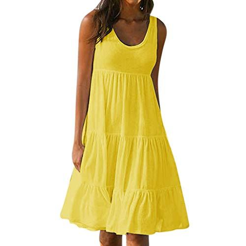 XuxMim 1950er Ärmellos Vintage Retro Spitzenkleid Rundhals Abendkleid(Gelb,Medium)