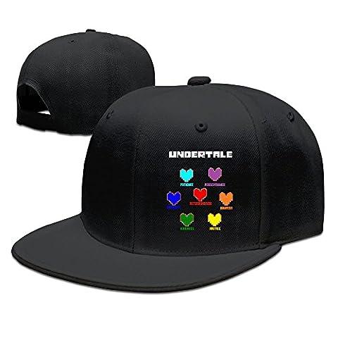 Hittings Undertale Colorful Hearts Soul Flat Bill Snapback Adjustable Travel Caps Hats Black Black
