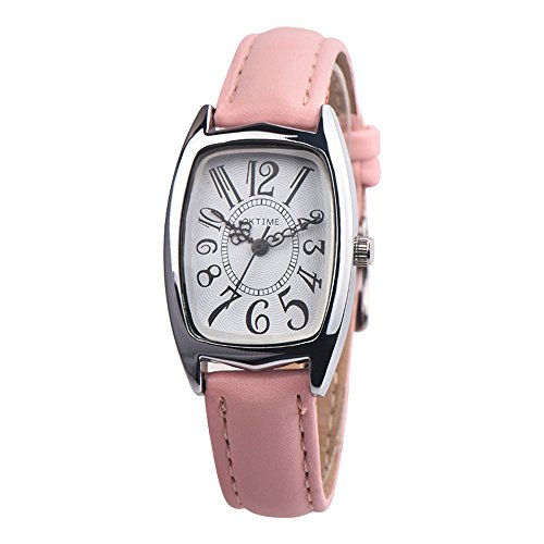 Uhren Dellin Mode lässig Chic Retangle Damen Lederband analog Quarzuhr (Rosa)