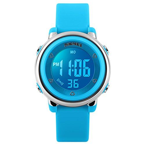 Kinder LED Digital Ungewöhnliche Elektrische Lumineszierende Silikon Outdoor Sport Wasserdichte Alarm Kinder Kleid Armbanduhr mit Stoppuhr für Jungen Mädchen - Blau