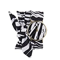 Souarts Women Wrist Quartz Analog Watch Zebra Black and White Stripe Printing Bow Cloth Band 70cm