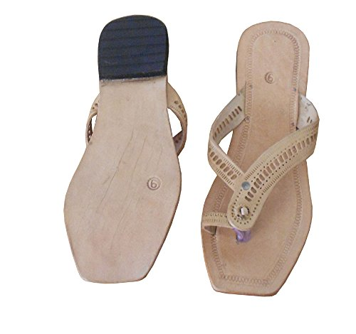 kalra Creations Femme Chaussons Casual en Cuir traditionnel indien Camel