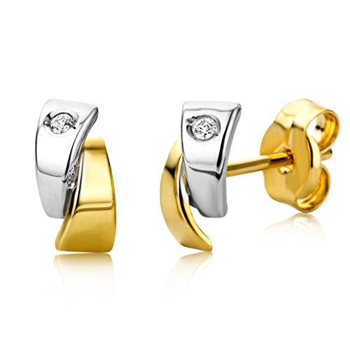 Miore Ohrringe Damen Bicolor Gelbgold / Weißgold 18 Karat / 750 Gold   Diamant Brillianten