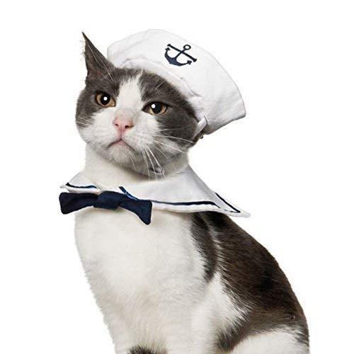 Jumpsuit T-Shirt Lustige Kapitän Katzenkostüm Hund Haustierbekleidung Sailor Katze Kostüm Marine Seemann Hut Kragen Dressing up Party Bekleidung für Weihnachten Large Small (Hunde Sailor Kostüm)