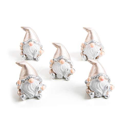 5 Stück kleine Mini weiß goldene-farbene Weihnachts-Wichtel 5 cm als Weihnachts-Deko Zierschmuck weihnachtlich give-away Weihnachtsdekoration