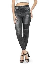 N-Gal Women's Print Denim Look Legging