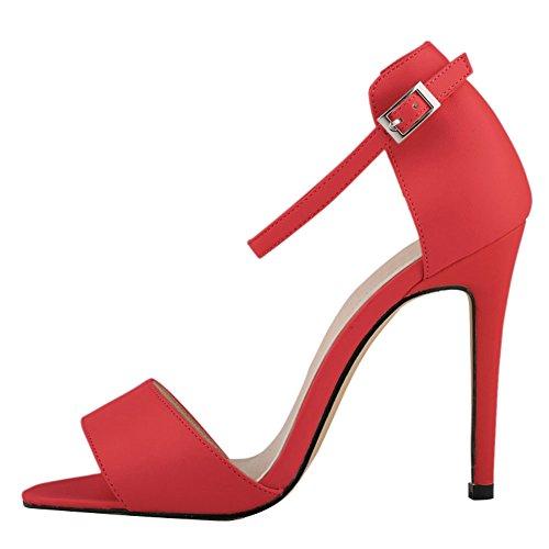 fereshte Damen Ankle Strap Hohe Stiletto-Absatz Büro Sandale 14Farben Rot