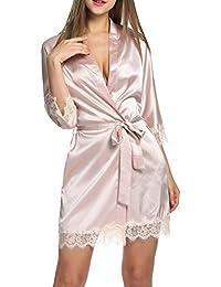 BeautyUU Donna Vestaglia e Kimono Raso in Pizzo Scollo a V Manica a 3 4 Camicia  da Notte Vestaglia Pigiama da… a1049c5040e