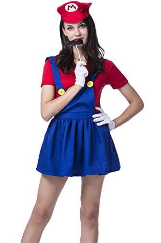 Vosujotis Frauen Ostern Kostüm Super Mario Süß Cosplay - Anzüge blau S