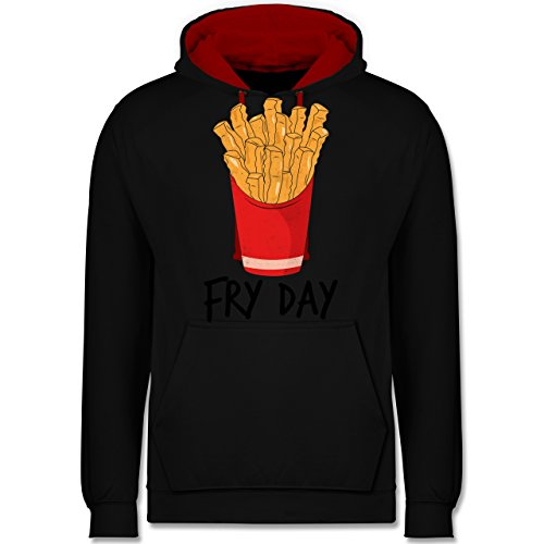 Statement Shirts - Fry Day - Pommes frites - Kontrast Hoodie Schwarz/Rot