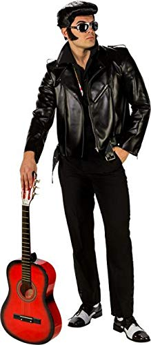 Elvis Jacke (shoperama Lederjacke Schwarz 1968 Rocker Biker Jacke Bikerjacke King Herren-Kostüm, Größe:50/52)