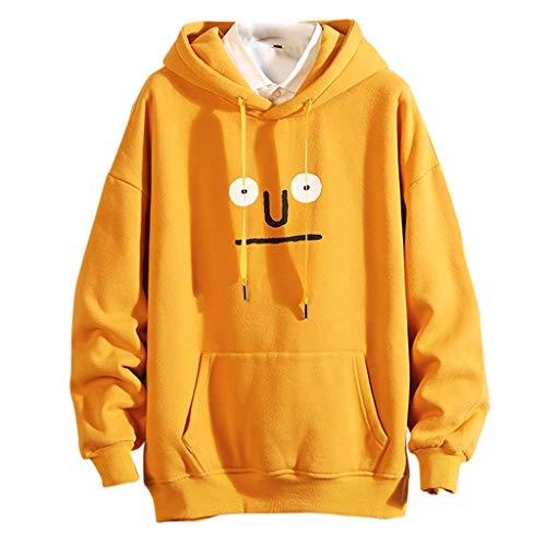 Realde Herren Lange Ärmel Sweatshirt Pullover Mode Komisch Drucken Taschen mit Reißverschluss Mantel Herbst und Winter Kapuzenshirt für Fitness Kapuzenpullover -