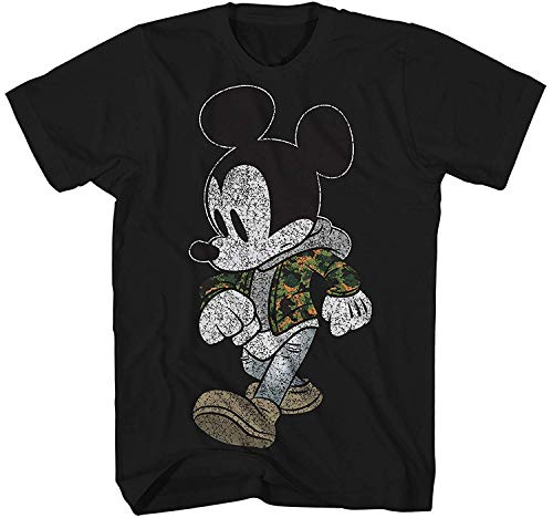 Mickey Mouse Camo Hyped Disneyland World Retro Classic Vintage Tee Funny Humor Adult Mens Graphic T-Shirt Apparel (Jet Black, XXXX-Large)